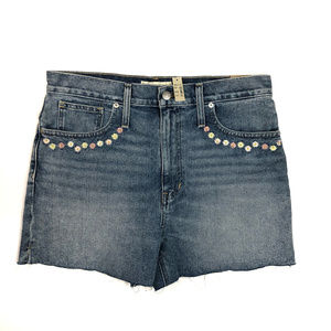 Madewell Embroidered Floral Denim Shorts NWT Sz 30